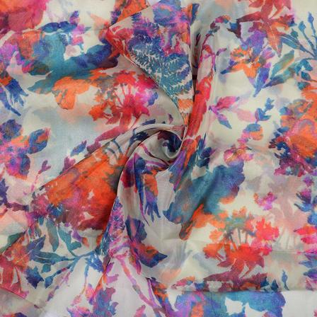 Cream-Blue and Orange Leaf Pattern Organza Silk Fabric-51047