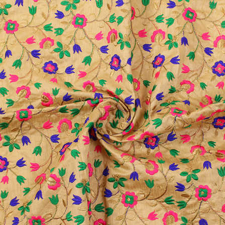 Cream-Blue and Pink Flower Pattern Silk Embroidery Fabric-60231