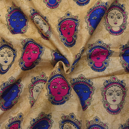 Cream-Blue and Purple Durga Devi Design Kalamkari Manipuri Silk-16047