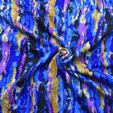 Cream-Blue and Purple Unique Pattern Crepe Fabric-18020