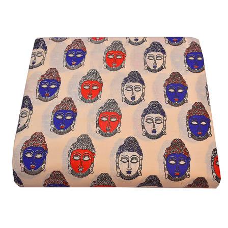 Cream-Blue and Red Buddha Face Design Kalamkari Cotton Fabric-5791