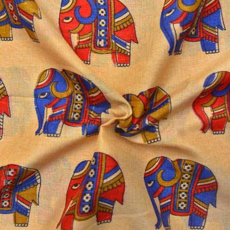 Cream-Blue and Red Elephant Pattern Kalamkari Manipuri Silk-16035