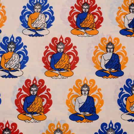 Cream-Blue and Yellow Buddha Kalamkari Cotton Fabric-5594
