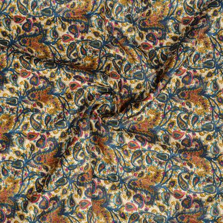 Cream-Blue and Yellow Paisley Design Kalamkari Manipuri Silk Fabric-16272