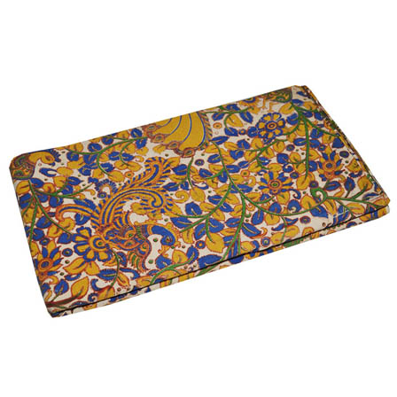 Cream-Blue and Yellow Peacock Pattern Kalamkari Fabric-5762