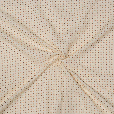Cream Brown Block Print Cotton Fabric-14724