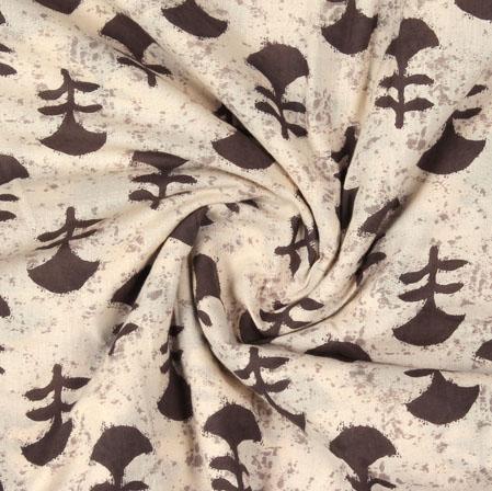 Cream Brown Block Print Cotton Fabric-16082