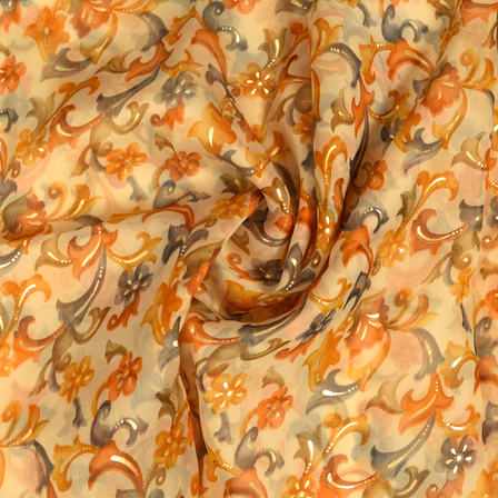 Cream-Brown and Golden Floral Design Silk Organza Fabric-50018