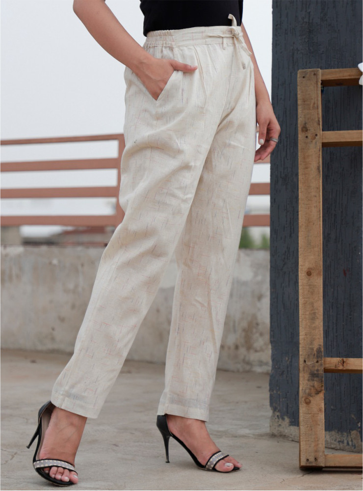 Cream Cotton Khadi Narrow Pant-33477