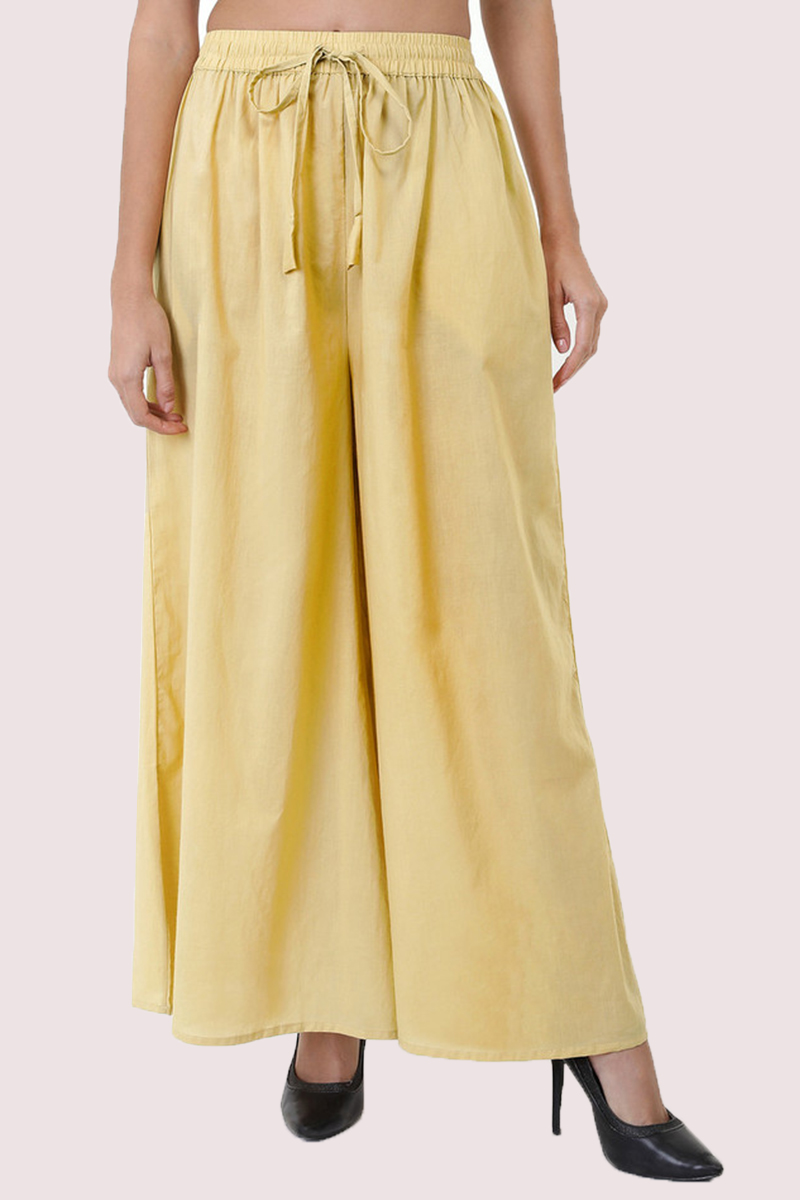 Cream Cotton Solid Women Palazzo-33309