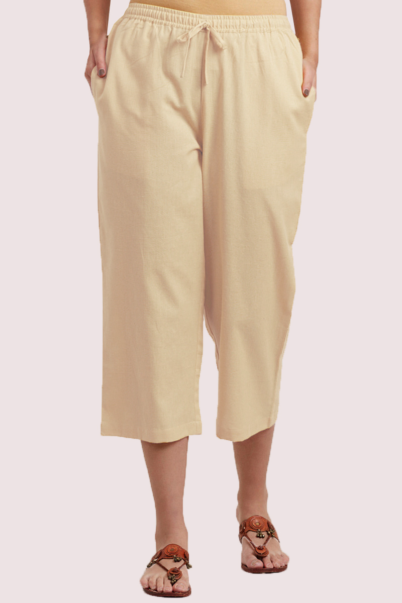 Cream Cotton Solid Women Culottes-33316