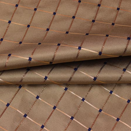 Cream Golden Checks Zari Brocade Silk Fabric-9299