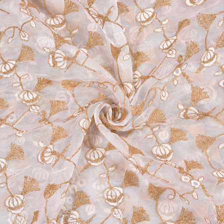 Cream Golden Floral Organza Embroidery Fabric-22150