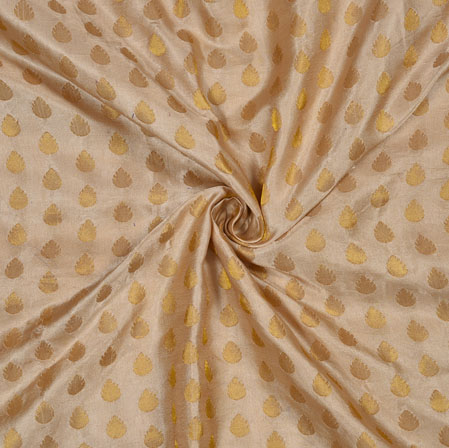 Cream Golden Leaf Satin Brocade Fabric-12852