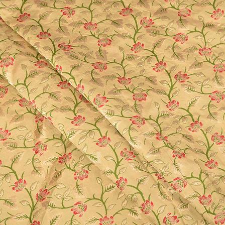 Cream-Golden and Green Digital Brocade Fabric-24063