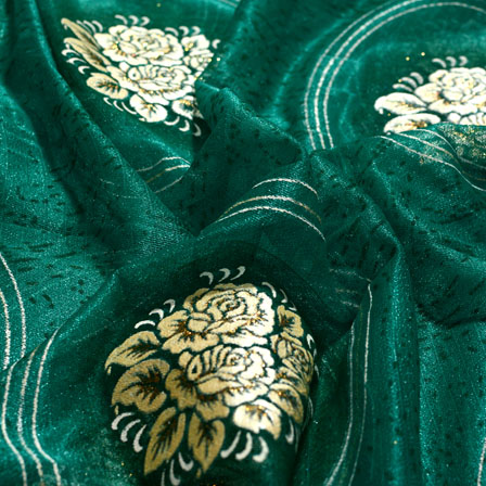 Cream-Golden and Green Flower Shape Lycra Fabric-6536