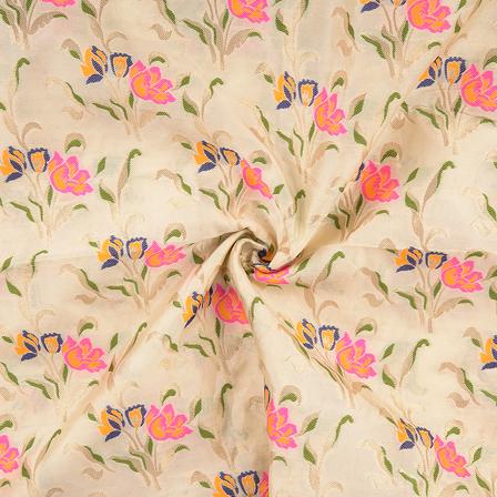 Cream-Golden and Pink Digital Brocade Fabric-24072