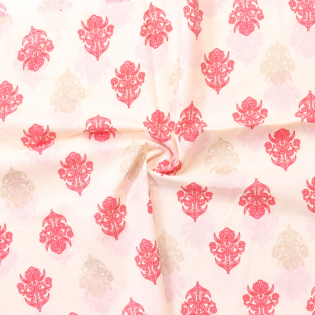 Cream-Golden and Pink Floral Pattern Block Print Cotton Fabric-14277