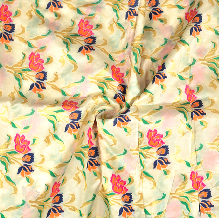 Cream-Golden and Pink Flower Design Digital Banarasi Silk Fabric-24044