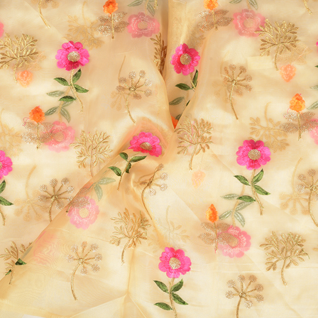 Cream-Golden and Pink Flower Design Organza Embroidery Fabric-51057