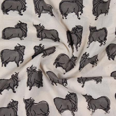 Cream Gray Block Print Cotton Fabric-16202