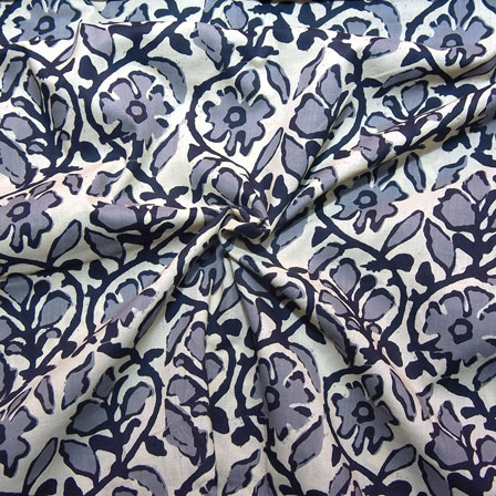 Cream-Gray and Black Flower Design Block Print Cotton Fabric-14194