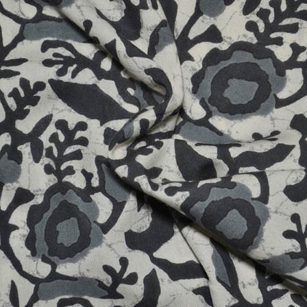 Cream-Gray and Black Flower Design Rayon Fabric-15009