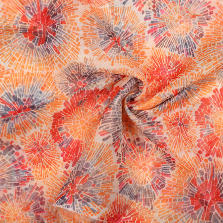 Cream-Gray and Orange Circular Design Organza Silk Fabric-51045