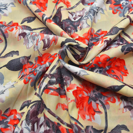 Cream-Gray and Orange Floral Pattern Crepe Fabric-18006