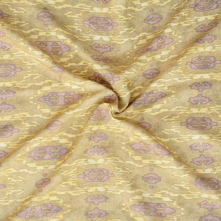 Cream Gray ikat two tone Rayon Fabric-15173