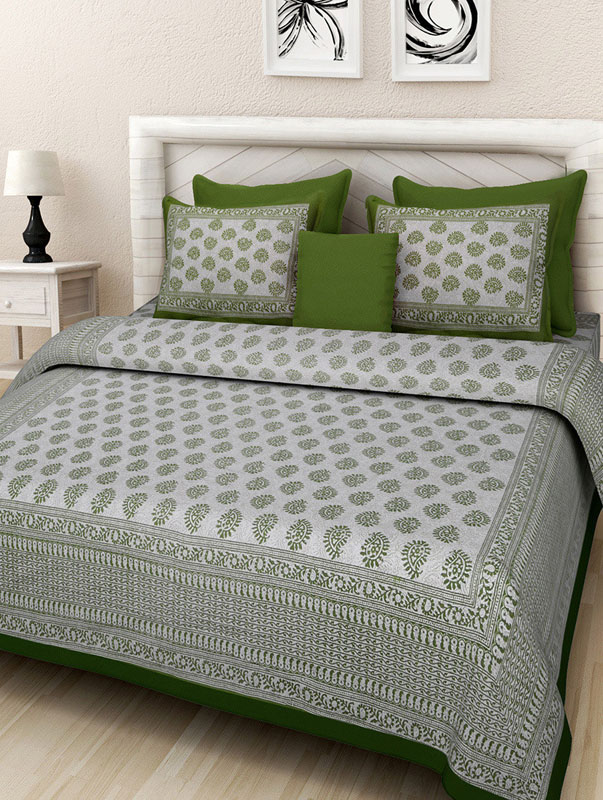 Cream Green Cotton Jaipuri Bedsheet-669