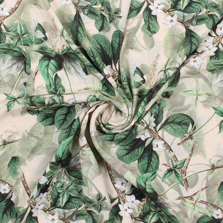 Cream Green Crepe Silk Fabric-18173