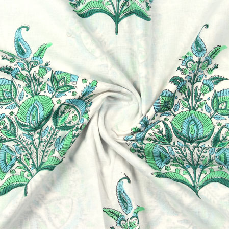 Cream Green Mughal Block Print Cotton Fabric-16087