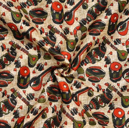 Cream Green Musical-Instrument Print Manipuri-Silk Fabric-18048