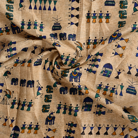 Cream-Green and Black Kalamkari Manipuri Silk Fabric-16347