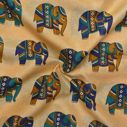 Cream-Green and Blue Elephant Design Kalamkari Manipuri Silk-16038