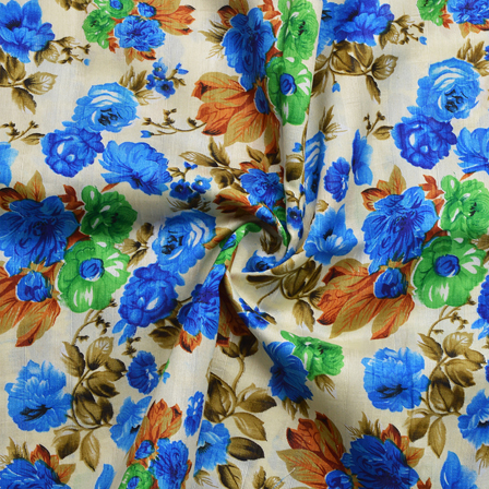 Cream-Green and Blue Flower Design Banglori Silk Fabric-4897