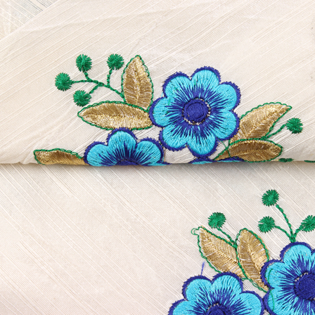 Cream-Green and Blue Flower Pattern Silk Embroidery Fabric-60131