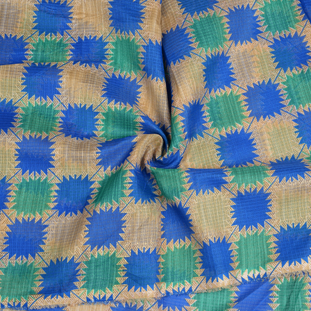 Cream-Green and Blue Kota Doria Fabric-25096
