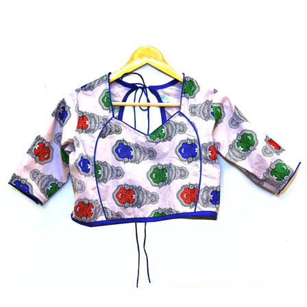 Cream-Green and Blue Kuchipudi Kalamkari Print Cotton Blouse-30038