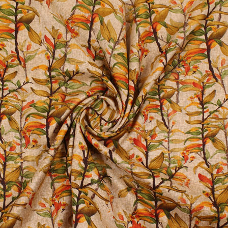 Cream Green and Brown Manipuri Silk Fabric-16416