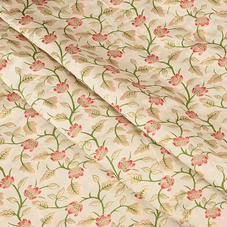 Cream-Green and Golden Flower Digital Brocade Fabric-24070