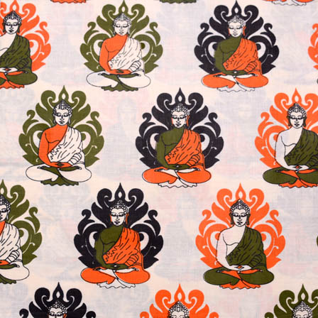 Cream-Green and Orange Buddha Kalamkari Cotton Fabric-5595