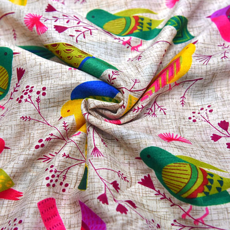 Cream-Green and Pink Bird Design Kalamkari Manipuri Silk-16095