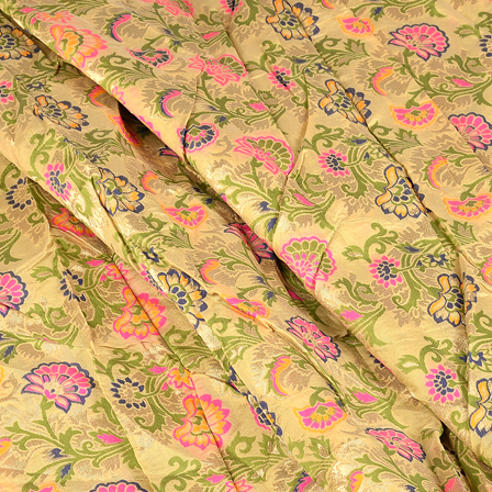 Cream-Green and Pink Floral Digital Brocade Fabric-24086