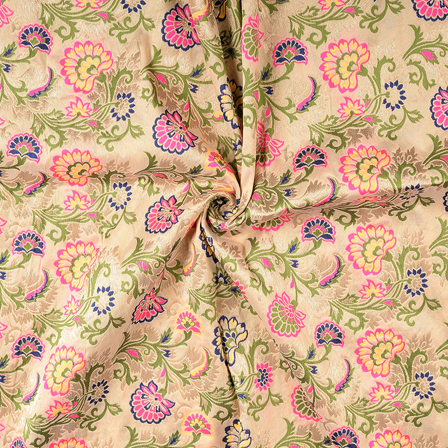 Cream-Green and Pink Floral Silk Digital Brocade Fabric-8390
