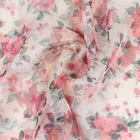 Cream-Green and Pink Flower Organza Digital Print Fabric-51390