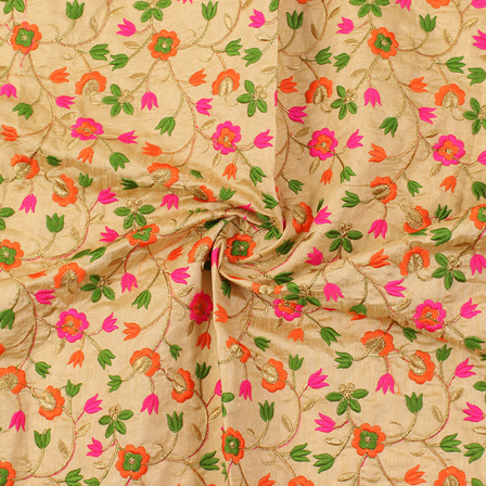 Cream-Green and Pink Flower Pattern Silk Embroidery Fabric-60217