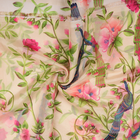 Cream-Green and Pink Peacock and Leaf Design Organza Silk Fabric-51032