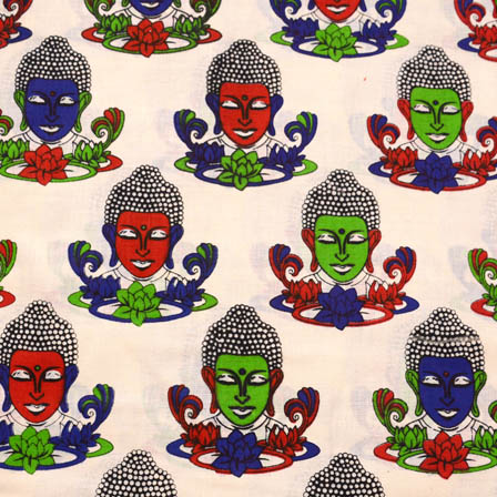 Cream-Green and Red Buddha Pattern Kalamkari Cotton Fabric-5585